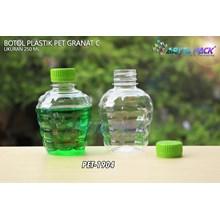 Botol plastik pet 250ml granat c tutup segel hijau (PET1904)