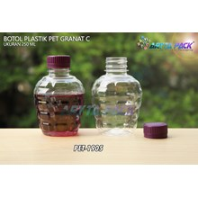 Botol plastik pet 250ml granat c tutup segel ungu (PET1905)