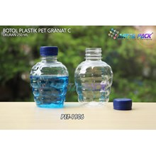 Botol plastik pet 250ml granat c tutup segel biru (PET1906)