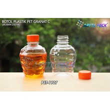 Botol plastik pet 250ml granat c tutup segel orange (PET1907	)