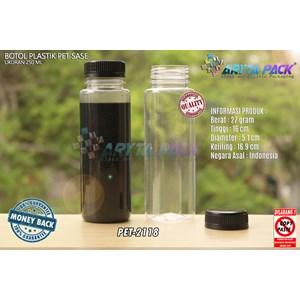 Botol plastik minuman 250ml jus kale sase tutup segel hitam ( PET2118 )