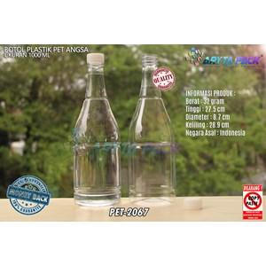 Botol plastik minuman 1 liter angsa tutup segel natural (PET2067)