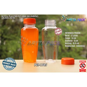 Botol plastik minuman 250ml jus kale belimbing tutup orange segel (PET1785)