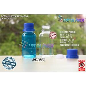 Dari Botol plastik pet 100ml labor tutup segel biru (PET2075) 0