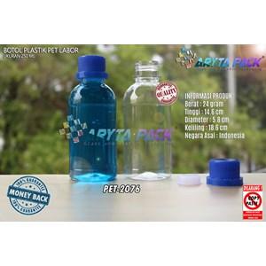 Dari Botol plastik pet 250ml labor tutup segel biru (PET2076) 0