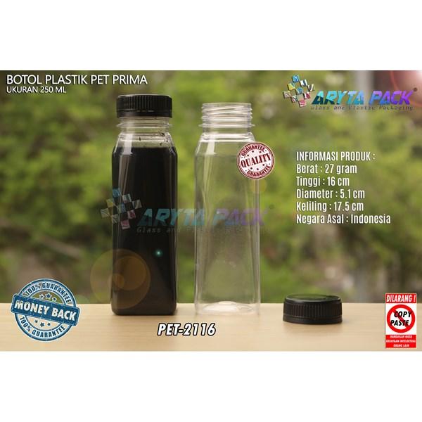 Botol plastik minuman 250ml jus kale prima tutup hitam segel (PET2116)