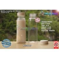 Botol plastik minuman 250ml jus kale prima tutup putih segel (PET2115)