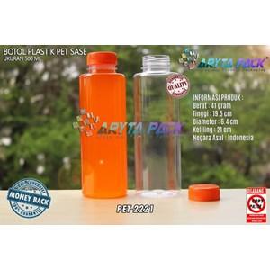 Botol plastik minuman 500ml jus kale sase tutup segel orange (PET2221)
