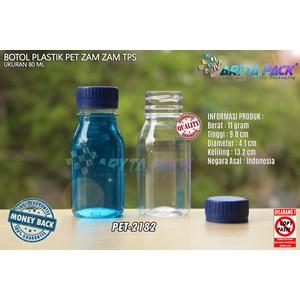 Dari Botol plastik PET 80ml zam-zam tutup tps segel biru (PET2182) 0