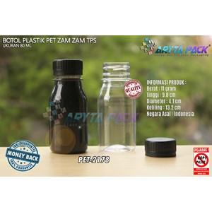 Dari Botol plastik PET 80ml zam-zam tutup tps segel biru (PET2178) 0