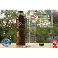Botol plastik PET 600ml aqua tutup segel pendek coklat (PET2037)