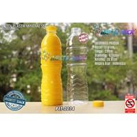 Botol plastik PET 600ml aqua tutup segel pendek kuning (PET2034)