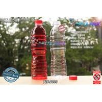 Botol plastik PET 600ml aqua tutup segel pendek merah (PET2033)