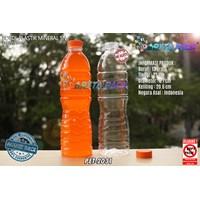 Botol plastik PET 600ml aqua tutup segel pendek orange (PET2031)
