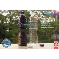 Botol plastik PET 600ml aqua tutup segel pendek ungu (PET2038)