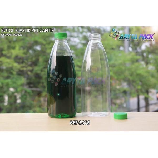 Botol plastik minuman 600ml pet cantik tutup segel pendek hijau (PET1316)
