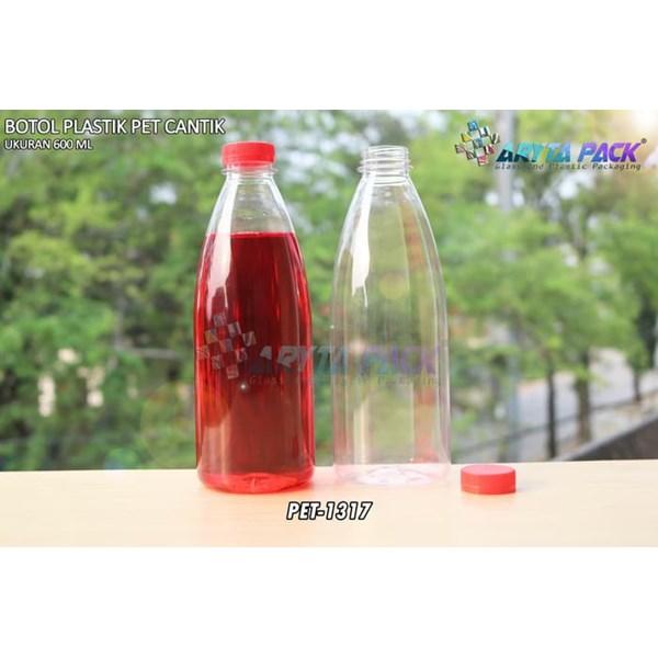 Botol plastik minuman 600ml pet cantik tutup segel pendek merah (PET1317)