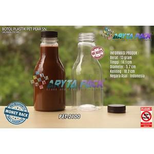 Botol plastik minuman 250ml pear tutup segel pendek coklat (PET2100)