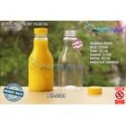 Botol plastik minuman 250ml pear tutup segel pendek kuning (PET2084) 1