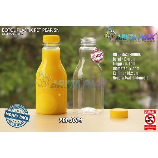 Botol plastik minuman 250ml pear tutup segel pendek kuning (PET2084)