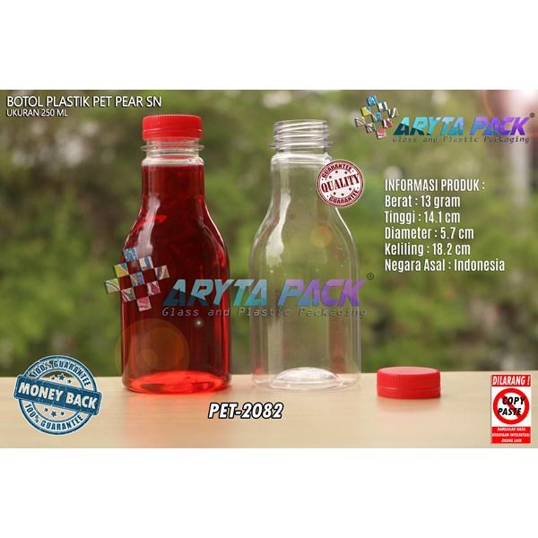 Botol plastik minuman 250ml pear tutup segel pendek merah (PET2082)