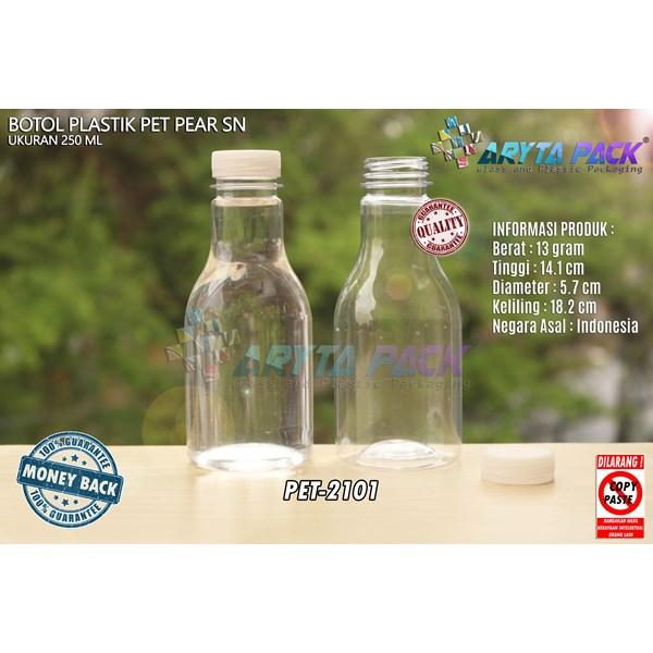 Botol plastik minuman 250ml pear tutup segel pendek natural (PET2101)