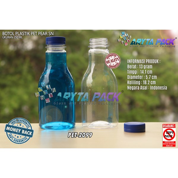 Botol plastik minuman 250ml pear tutup segel pendek biru (PET2099)