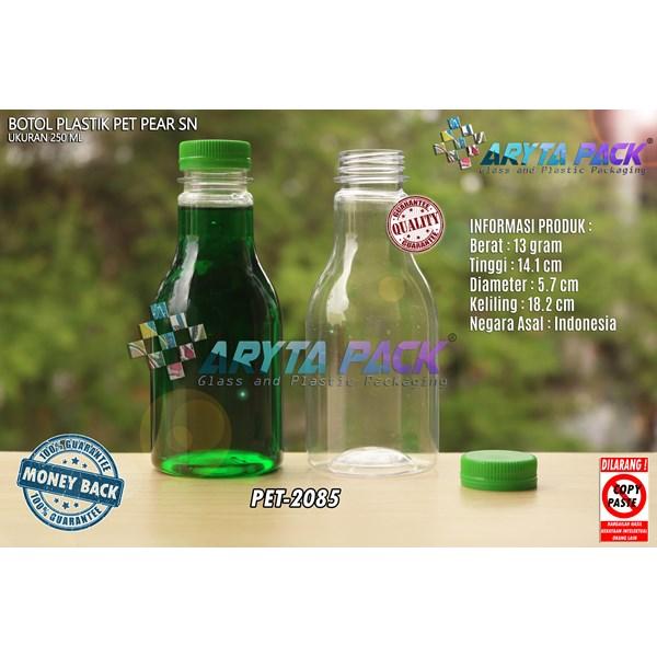 Botol plastik minuman 250ml pear tutup segel pendek hijau (PET2085)