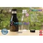 Botol plastik minuman 250ml pear tutup segel pendek hitam (PET2081) 1