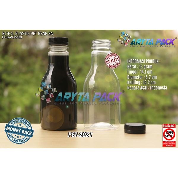 Botol plastik minuman 250ml pear tutup segel pendek hitam (PET2081)