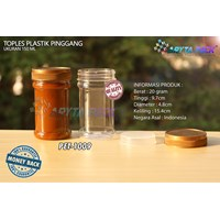 PET plastic jar 150ml waist lid gold (PET1009)