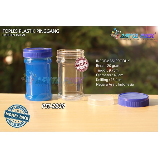Toples plastik PET 150ml pinggang tutup biru (PET2239)