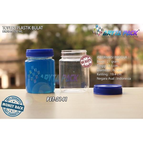 Toples plastik PET 200ml selai bulat tutup biru (PET2141)