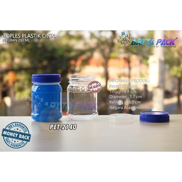 Toples plastik PET 200ml selai cinta tutup biru (PET2140)