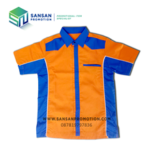 Short Sleeves Shirt with Orange and Blue Combination