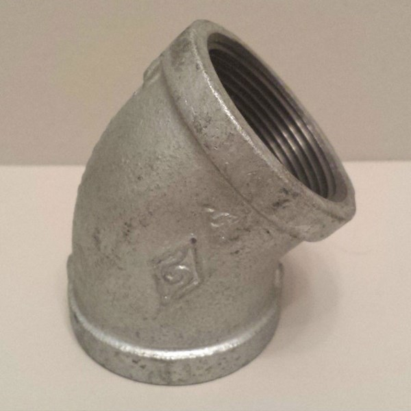 GALVANISED MALLEABLE IRON FXF 45° ELBOW