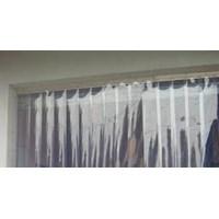 Tirai PVC Pasuruan Strip blue bening
