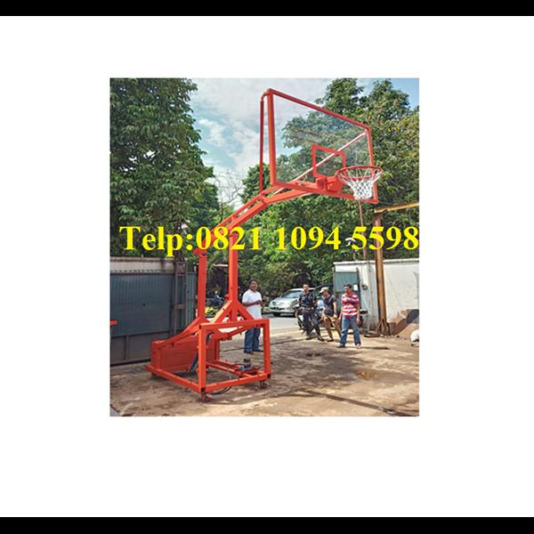 Harga Ring Basket Portable Hidrolik Manual Dapat Dilipat /Naik Turun Dengan Papan Pantul Akrilik Tebal 15 MM