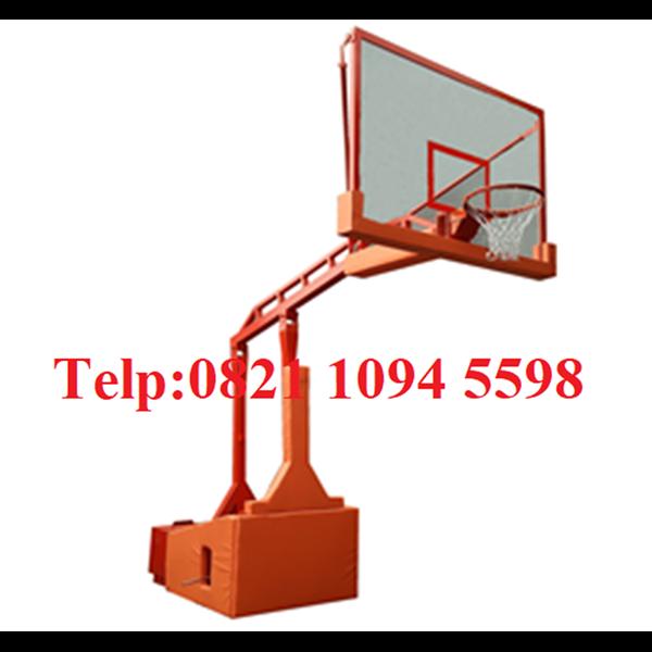 Spesifikasi Ring Basket Portable Hidrolik Otomatis Dapat Dilipat / Naik Turun Secara Otomatis Dengan Papan Akrilik Tebal 15 MM