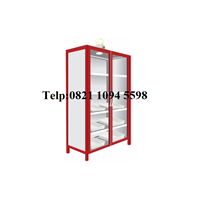 Lemari Laboratorium - Steel Chemical Storage Cabinet 2 Glass Doors
