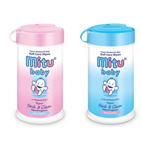 Jual Mitu Baby Wipes Bottle Reguler 60's - Blue/Pink 2
