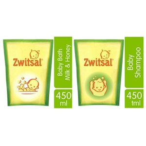 ZWITSAL Natural Baby Bath Milk & Honey Pouch 450ml sku 030