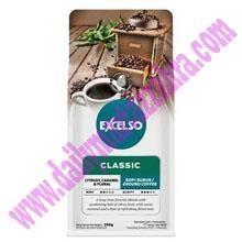 EXCELSO THE CLASSIC HALUS 200 GR  Kemasan Pack isi 200 gram Satu Karton berisi 20 Pack Kopi Sachet SKU010