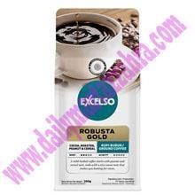 EXCELSO ROBUSTA GOLD BUBUK 200  Kemasan Pack isi 200 gram Satu Karton berisi 20 Pack GR Kopi Sachet