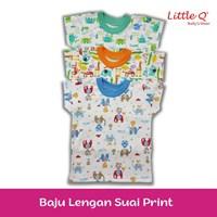 Baju Celana setelan lengan sui Little Q 3 per 4 print L per pax isi 3 stell