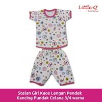 Kaos lengan pendek stelan Little Q girl celana 3 per 4 printe XL per pax 3 stell 1