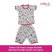 Kaos lengan pendek stelan Little Q girl celana 3 per 4 printe XL per pax 3 stell
