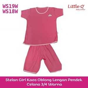 Kaos Oblong lengan pendek Little Q For Girl celana 3 per  4 warna XL