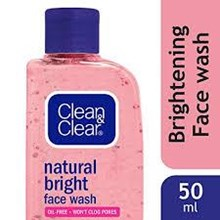 Clean & Clear Natural Bright Face Wash 50ml x 48 botol/carton