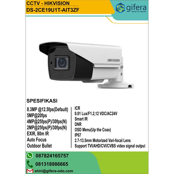 Hikvision DS-2CE19U1T-(A)IT3ZF 8 MP Bullet Camera CCTV